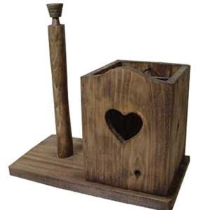 キッチンペーパースタンド ハート w28d15.5h30cm アンティークブラウン 国内サイズ230mm ラップスタンド ラップホルダー 木製 ひのき 受注製作|angelsdust
