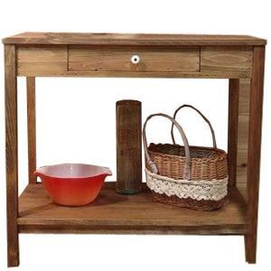 テーブル 棚付き アンティークブラウン w79d49h71cm 引き出し付き シンプルテーブル 作業台 下段収納 木製 ひのき 受注製作|angelsdust