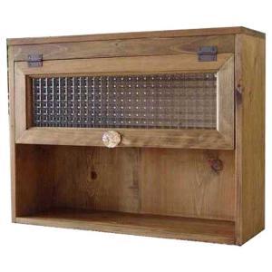 スパイスラック フランス製チェッカーガラス扉 二段 パンプキンノブ アンティーク調家具 キッチン収納 45×15×35センチ  アンティークブラウン 受注製作|angelsdust
