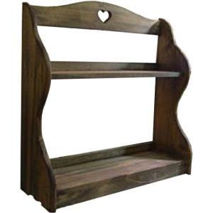 スパイスラック 木製ひのき アンティーク調家具 二段ラック カントリーハート 収納棚 キッチン収納 42×14×44cm アンティークブラウン 受注製作|angelsdust
