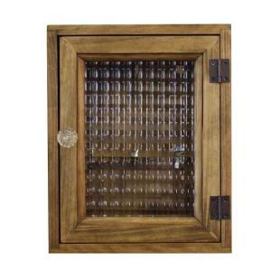 キーボックス  木製 チェッカーガラス 角型 パンプキンノブ マグネット ニッチ用 壁掛け アンティークブラウン 受注製作|angelsdust