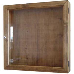ディスプレイケース 四角 アンティークブラウン w40d9h40cm 透明ガラス 木製 ひのき 受注製作|angelsdust
