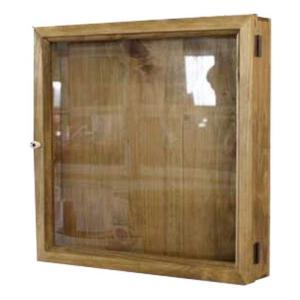 コレクションケース 木製ひのき 透明ガラス扉 四角い壁掛けディスプレイケース 40×7×40cm ガラスケース アンティークブラウン 受注製作|angelsdust