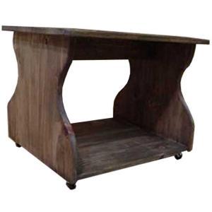 テーブル ミニテーブル アンティークブラウン w57d44h44cm キャスター ちゃぶ台 木製 ひのき 受注製作|angelsdust