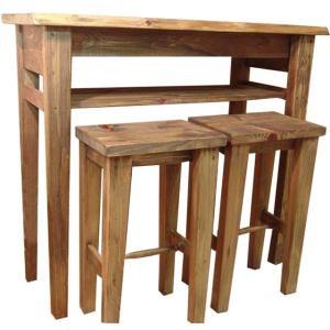 テーブルセット  スツール2脚 アンティークブラウン w102d40h90cm カウンターテーブル&角型スツール 受注製作|angelsdust