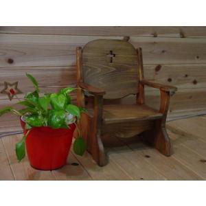 クロスの木製ナチュラルベビーチェア 子供用椅子(アンティークブラウン) 受注製作|angelsdust
