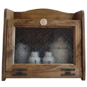 ブレッドケース パンプキンノブ w35d25h32cm フローラガラス扉 アンティークブラウン 木製...