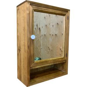 ミラーキャビネット 木製ひのき ミラー扉の木製ミラーキャビネット 背板付き(35×15×49cm)アンティークブラウン 受注製作|angelsdust