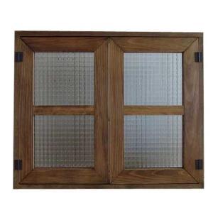 カフェ窓 室内窓 採光窓 フランス製チェッカーガラス 木製ひのき(60×50cm扉厚み3cm)マグネット仕様(アンティークブラウン)受注製作|angelsdust