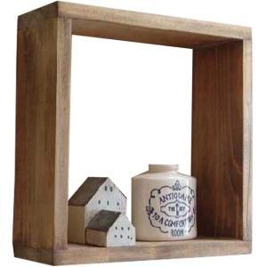 オープンシェルフ ボックス型 アンティークブラウン w28d10h28cm 正方形 スクエア 木製 ひのき 受注製作|angelsdust