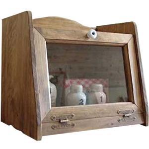 ブレッドケース 透明ガラス扉 w35d25h32cm アンティークブラウン パンケース  ハンドメイド 木製 ひのき 受注製作|angelsdust