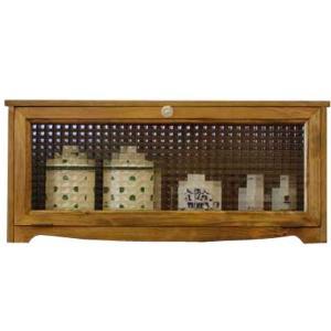横型キャビネット パンプキンノブ アンティークブラウン w60d18h26cm チェッカーガラス 飾り脚 木製 ひのき 受注製作|angelsdust
