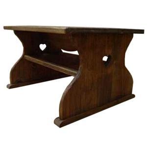 テーブル 棚つき アンティークブラウン w50d40h30cm ハート ミニサイズ 木製 ひのき 受注製作|angelsdust