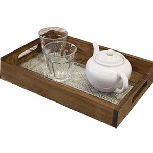 トレイ フローラガラス アンティークブラウン w37d25h5.5cm 底面ガラス  BOX型 木製 ひのき 受注製作|angelsdust