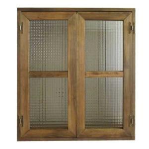 カフェ窓 室内窓 採光窓 フランス製チェッカーガラス 木製ひのき(60×70cm扉厚み3cm)マグネット仕様(アンティークブラウン)受注製作|angelsdust
