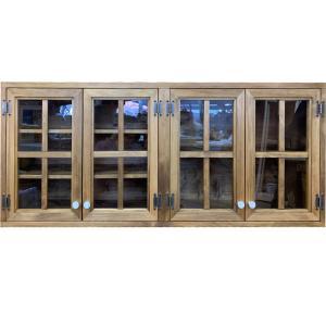 吊り戸棚 透明ガラス扉 壁掛け アンティークブラウン w120d30h50cm 桟入り マグネット仕様 木製 ひのき 受注製作 angelsdust