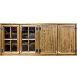 吊り戸棚 木製扉 アンティークブラウン w120d30h50cm 透明ガラス扉 桟入り 壁掛け 木製 ひのき 受注製作 angelsdust