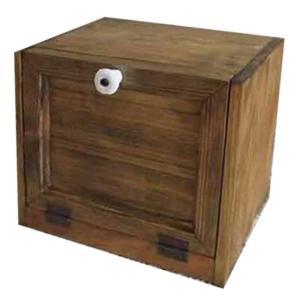 ブレッドケース ミニミニサイズ 角型 w25d17h21cm アンティークブラウン 木製扉 木製 ひのき 受注製作|angelsdust