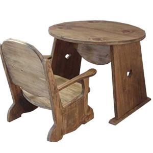 丸テーブル チャイルドチェア ハート アンティークブラウン キッズテーブル キッズチェア 木製 ひのき 受注製作|angelsdust