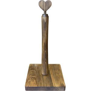 キッチンペーパースタンド ハート w15d15h30cm アンティークブラウン レギュラーサイズ230mm キッチンペーパーホルダー 木製 ひのき 受注製作|angelsdust