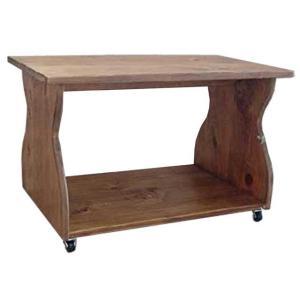 テーブル 棚つき アンティークブラウン w67d42h42cm キャスター付き 幅広天板 木製 ひのき 受注製作|angelsdust