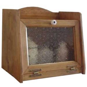 ブレッドケース パンケース w35d25h32cm アンティークブラウン フローラガラス扉 木製 ひのき 受注製作|angelsdust