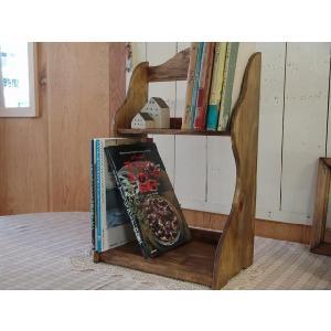 ハートの木製二段ブックスタンド(幅33センチ)本棚 (アンティークブラウン) 受注製作|angelsdust