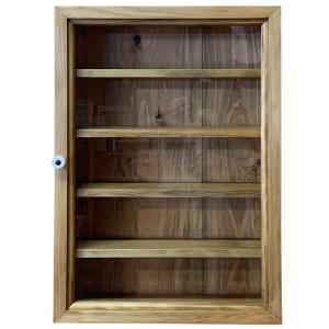 コレクションケース 木製ひのき 透明ガラス扉 壁掛け 棚付き ディスプレイケース ガラスケース 32×10×46cm アンティークブラウン 受注製作|angelsdust