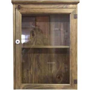透明ガラスの壁掛けキャビネット40×12×52cm(片開き扉・二段棚仕様・裏板つき) (アンティークブラウン) 受注製作|angelsdust
