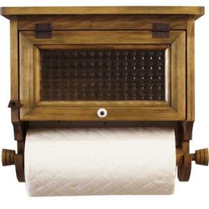 キッチンペーパーホルダー チェッカーガラス扉 w31d17h29cm アンティークブラウン   レギュラーサイズ(230mm) 壁かけラック 木製 ひのき 受注製作|angelsdust