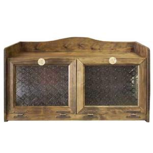 ブレッドケース ダブル扉 w60d25h32 アンティークブラウン フローラガラス扉 側面ガラス パンプキンノブ 木製 ひのき 受注製作|angelsdust