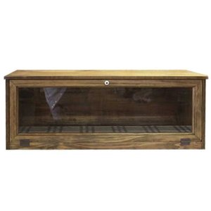 キャビネット カウンター上収納 w70d27h26cm アンティークブラウン 透明ガラス扉 パンプキンノブ 木製 ひのき 受注製作|angelsdust