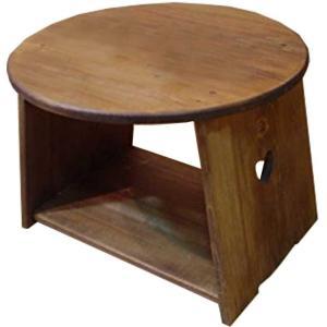 テーブル 丸形 アンティークブラウン w48d48h36cm ハート 棚付きタイプ 木製 ひのき 受注製作|angelsdust
