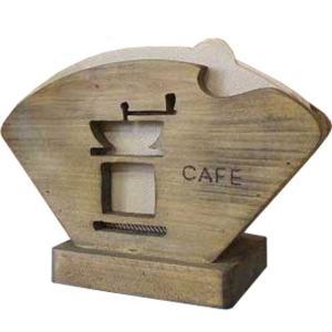 コーヒーフィルターケース コーヒーミルくりぬき アンティークブラウン w18d8h12cm バーニングロゴ入り コーヒーペーパーケース 木製 ひのき 受注製作|angelsdust