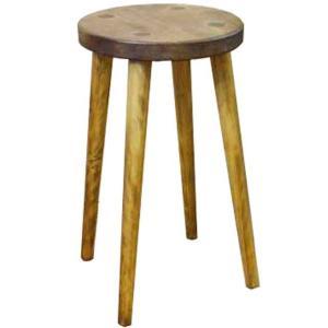 丸スツール 木製ひのき 丸椅子 STOOL 高さ44cm (アンティークブラウン)受注製作|angelsdust