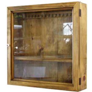 ディスプレイケース フック・棚付き アンティークブラウン w40d10h40cm 透明ガラス扉 木製 ひのき 受注製作|angelsdust
