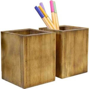 ペンスタンド 木製 ひのき 2個セット(ペン立て・鉛筆立て・リモコンラック・整理スタンド)北欧 (アンティークブラウン)受注製作|angelsdust