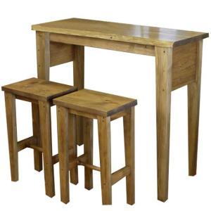 カウンターテーブル&角型スツール アンティークブラウン 102×40×90cm 自然木  2脚セット 下棚なし 木製 ひのき 受注製作|angelsdust