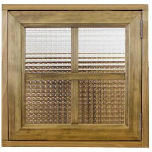 カフェ窓 室内窓 採光窓 片右開き フランス製チェッカーガラス 木製ひのき(43×42cm扉 厚み3cm)マグネット仕様 アンティークブラウン 受注製作|angelsdust