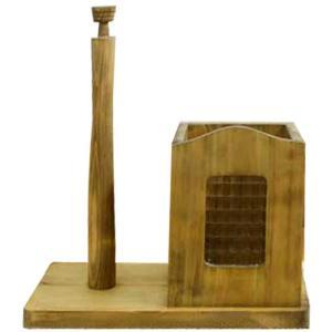 キッチンペーパースタンド レギュラーサイズ230mm w28d15.5h30cm アンティークブラウン フランス製チェッカーガラス 木製 ひのき 受注製作|angelsdust