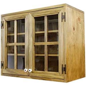 キャビネット 壁掛け アンティークブラウン w60d30h50cm 透明ガラス扉 キッチン吊り戸棚 木製 ひのき 受注製作 angelsdust