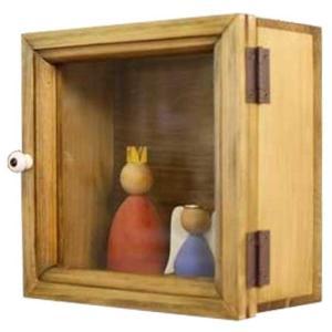 コレクションケース 透明ガラス扉 アンティークブラウン w17d9h17cm 四角 木製 ひのき 受注製作|angelsdust