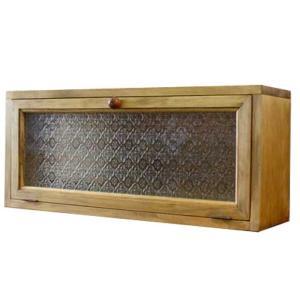 キャビネット  横型 木製取っ手 w60d17h26cm アンティークブラウン フローラガラス扉 ニッチ用埋め込みタイプ 木製 ひのき 受注製作|angelsdust
