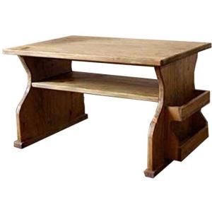 ローテーブル 木製ひのき マガジンポケット付き サイドテーブル 正座仕様 60×42×35cm アンティークブラウン 受注製作|angelsdust