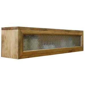 キッチンカウンター上収納 木製ひのき フローラガラス キッチン見せる収納ボックス スパイスラック 食器棚 おうちカフェ アンティークブラウン 受注製作|angelsdust