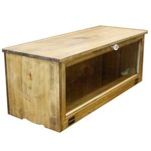 キャビネット 横型 アンティークブラウン w60d18h26cm 透明ガラス扉 パンプキンノブ 木製 ひのき 受注製作|angelsdust