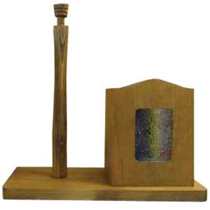 キッチンペーパースタンド コストコサイズ280mm w34d16h36cm アンティークブラウン フローラガラス ラップホルダー 木製 ひのき 受注製作|angelsdust