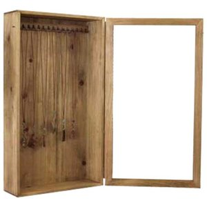 アクセサリーケース 木製ひのき 透明ガラス扉 壁掛け フック付き メダルケース ジュエリーケース 35×13×64cm アンティークブラウン 受注製作|angelsdust