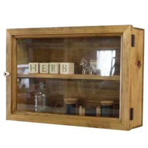 ディスプレイケース 棚付き アンティークブラウン w40d10h27cm 透明ガラス扉 木製 ひのき 受注製作|angelsdust