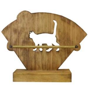 コーヒーフィルターケース アイアンバー真鍮パイプ アンティークブラウン w17d6.5h14cm ネコくり抜き コーヒーペーパーホルダー 木製 ひのき 受注製作|angelsdust